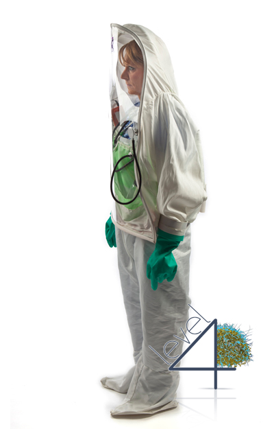 Ebola Personal Biohazard Protective Clothing for healthcare workers, doctors, and nurses working with patients infected with the Ebola virus and other Level 3 and 4 Biosafety level diseases.